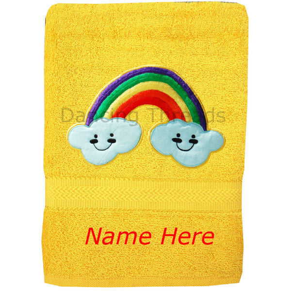 Personalized Bath Towel Rainbow Golden Yellow - Giftingnation