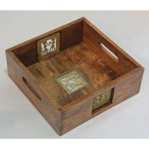 Wooden Serving Tray with Dhokra Art - Giftingnation - 1