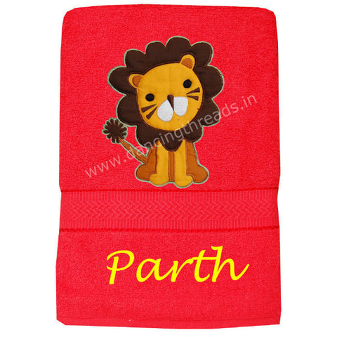 Personalized Bath Towel Lion Red Cherry - Giftingnation