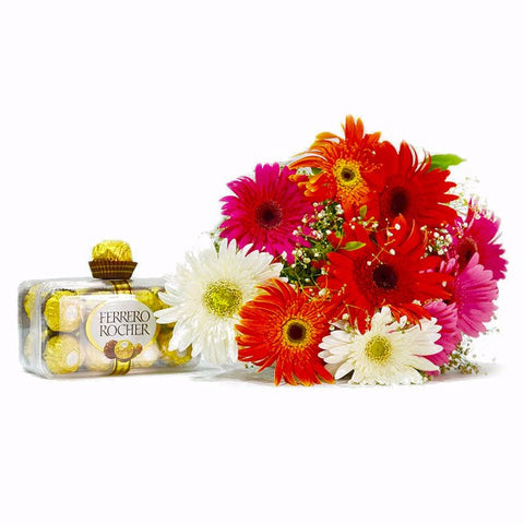 Bouquet of Ten Gerberas with Ferrero Rocher Chocolate Box