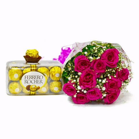Roses Bunch with Ferrero Rocher Chocolate Box