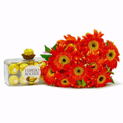 Bouquet of orange Gerberas with Ferrero Rocher Chocolates