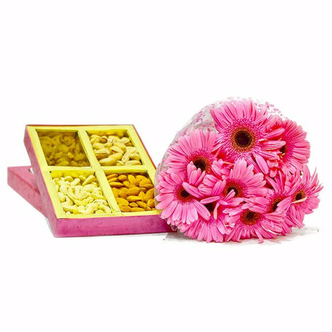 Box of Assorted DryFruits with Bouquet of 10 Pink Gerberas