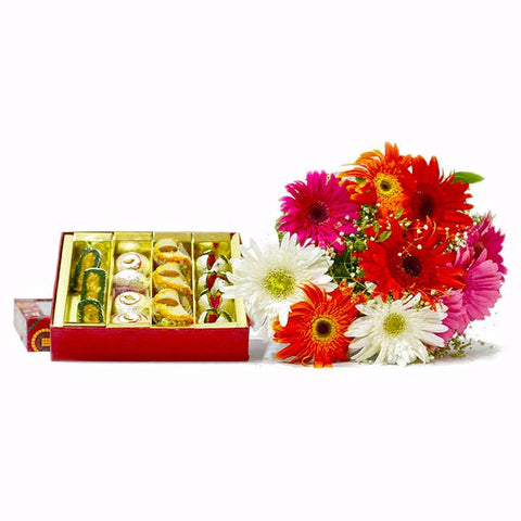 Bouquet of Colorful Gerberas with Box of Assorted Sweets