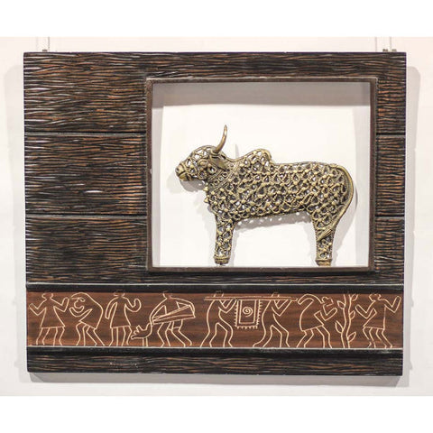 Brown Gold Wood & Metal Jaali Nandi Frame - Giftingnation - 1