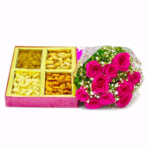 Basket of Assorted Dry Fruits with 10 Pink Roses Combo