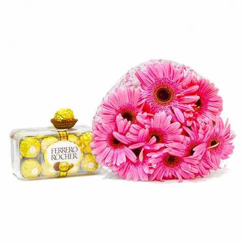 Bouquet of Gerberas with Fererro Rocher Chocolate Box