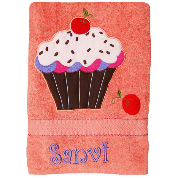 Personalized Bath Towel Cupcake Peach - Giftingnation