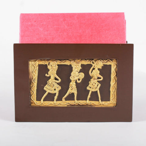 Wooden napkin holder with Dhokra Art figurines - Giftingnation - 1