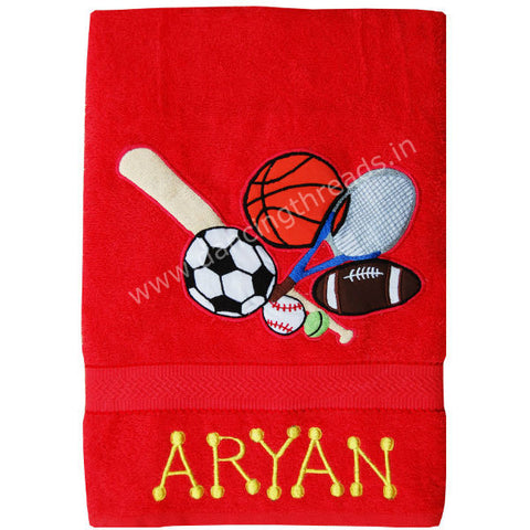Personalized Bath Towel Sports Red Cherry - Giftingnation