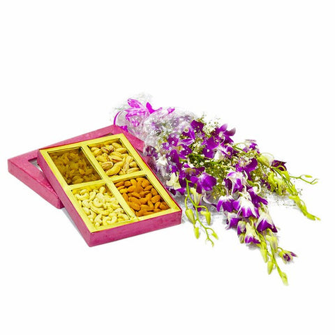 Bouquet of 6 Purple Orchids with Box of Assorted Dry Fruits