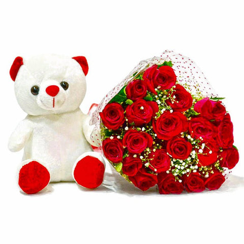 Bouquet of Twenty Red Roses with Soft Toy