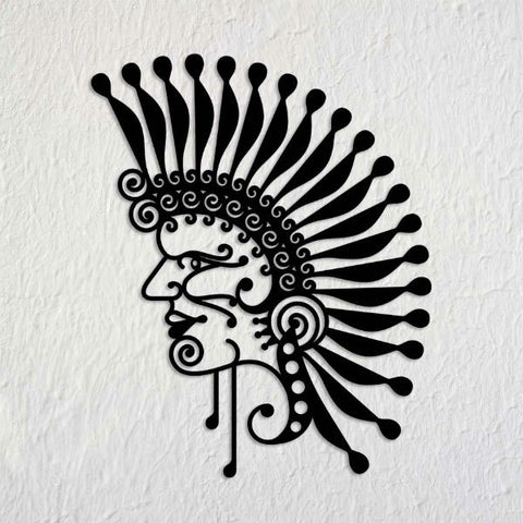 Red Indian Metal Art Mural