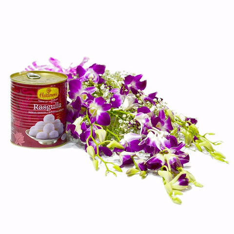 Six Purple Orchids Bouquet with Rasgullas Tin