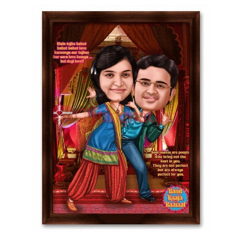 Band Baaja Baaraat Flim Style Personalised Caricature Gift for Couple - Giftingnation