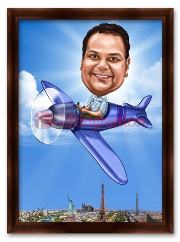 Caricature From Photo for Aviation Enthusiast - Giftingnation