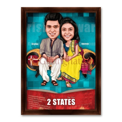 2 States Style Personalised Caricature Gift for Anniversary - Giftingnation