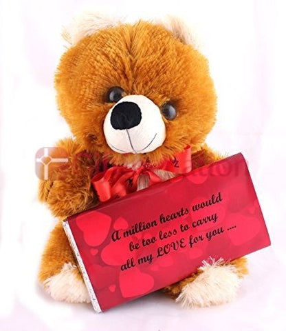 12 inch Teddy Bear holding a large 200 Gms Valentine Special Love Dark Chocolate Bar - Giftingnation