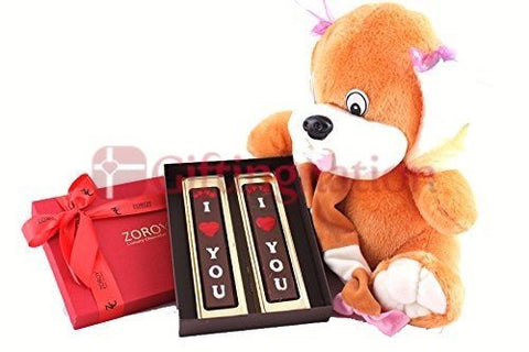 12 inch teddy bear with a big red box of 2 I love you bars - Giftingnation