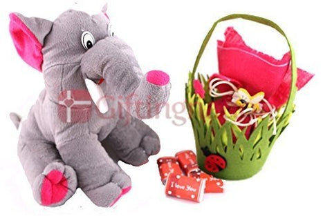 A cute Elephant with a basket of 20 I Love You chocolates - Giftingnation