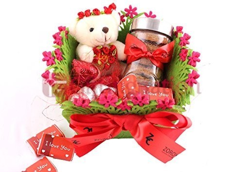 Chocolate Gift Garden Love Hamper with chocolates and teddy and cookies - Giftingnation