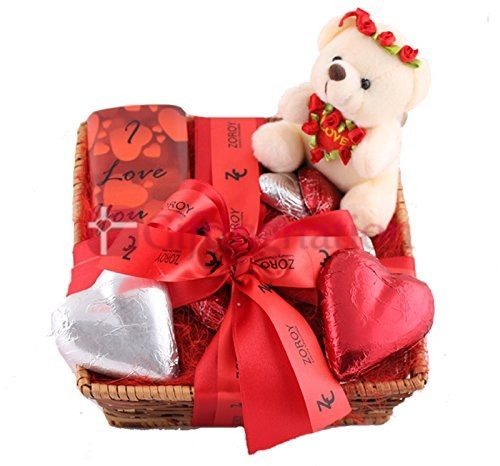 Chocolate Gift Hamper with Teddy and hearts - Giftingnation