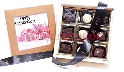 Chocolate Happy Anniversary Photo Box with 9 Belgian Assorted Chocolates - Giftingnation