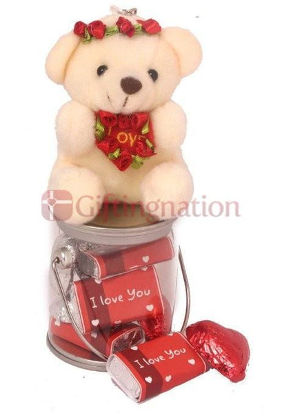 Chocolate Love Bucket with teddy and chocolates saying I Love You - Giftingnation