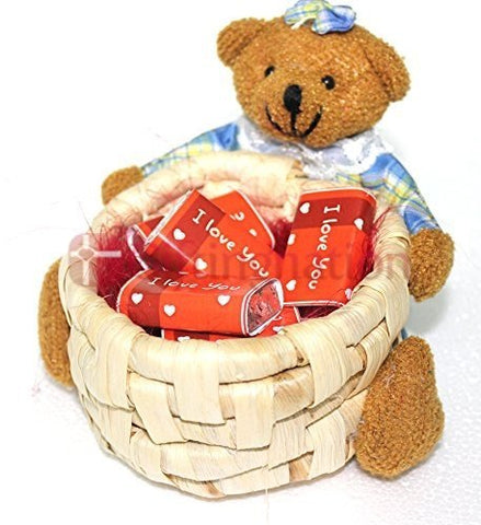 Chocolate Teddy Basket with I Love You wrapped chocolates - Giftingnation