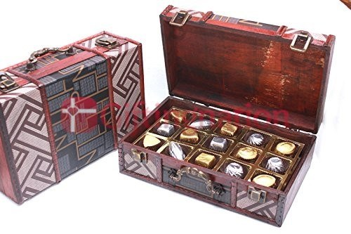 Ethnic Wooden Chest Chocolate Gift Box with 15 Luxury Assorted Chocolates - Giftingnation