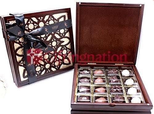 Wooden Chocolate Gift Box with 16 Belgian Assorted Chocolates - Giftingnation