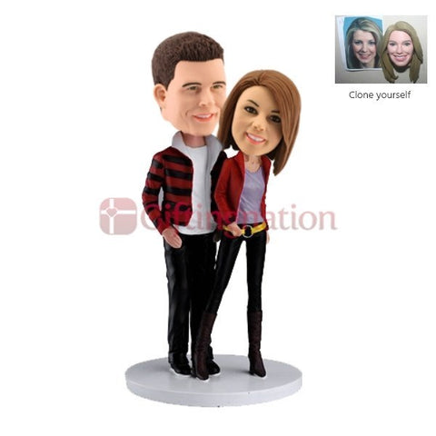 Custom Bobblehead Couple Dressed in Casuals - Giftingnation