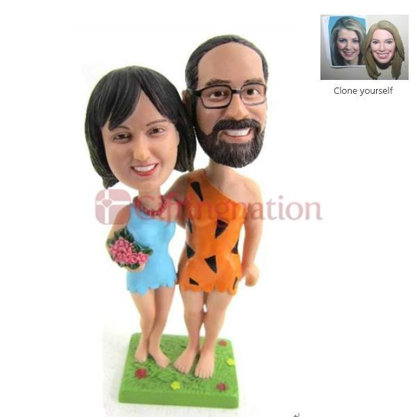 Custom Bobblehead Couple in Flinstones Outfit - Giftingnation