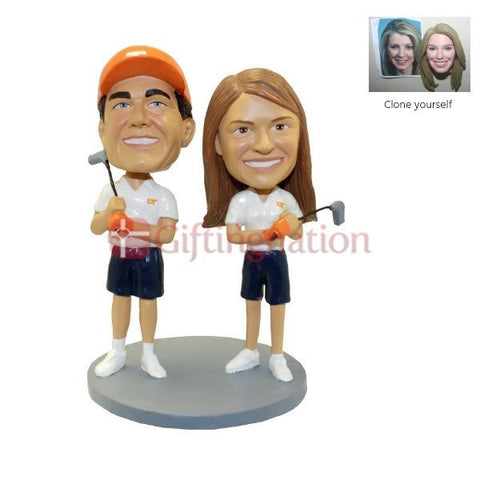 Custom Bobblehead Golf Playing Couple - Giftingnation
