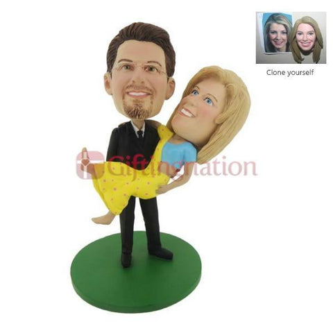 Custom Bobblehead Husband Lifting Wife in Saree - Giftingnation