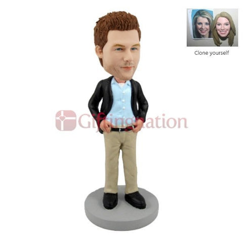 Custom Bobblehead Man in Casual Wear - Giftingnation