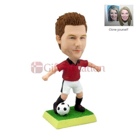 Custom Bobblehead Man Playing Football in Red Tee - Giftingnation