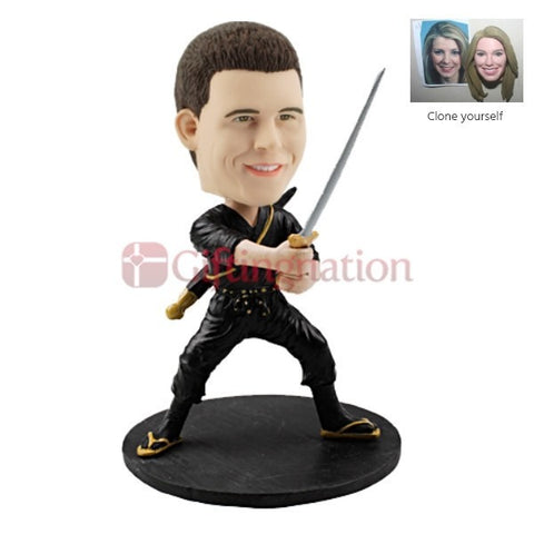 Custom Bobblehead Man Posing as Ninja - Giftingnation