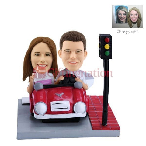 Custom Bobblehead of Couple in a Car - Giftingnation