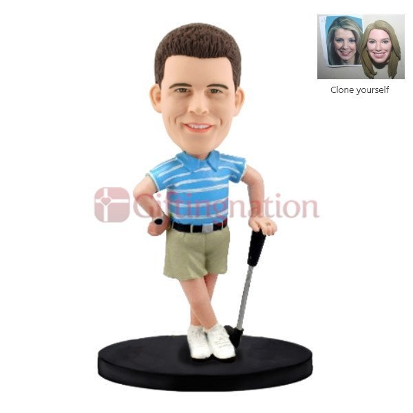 Custom Bobblehead of Man in Golf Polo Dress - Giftingnation