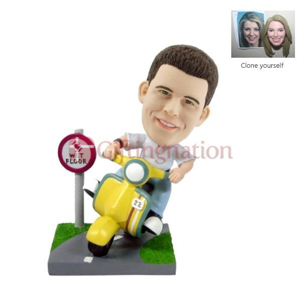 Custom Bobblehead of Man Riding Scooter - Giftingnation