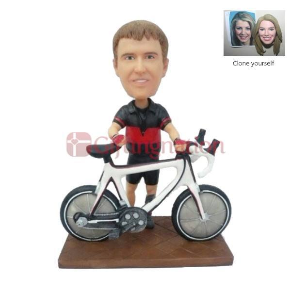 Custom Bobblehead of Man with his Cycle - Giftingnation
