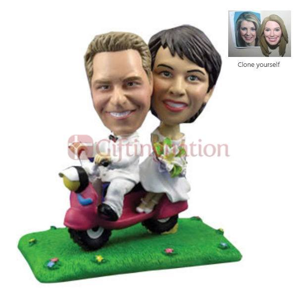 Custom Bobblehead of Newly Wed on Scooter - Giftingnation