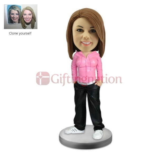 Custom Bobblehead Woman in Track Suit - Giftingnation