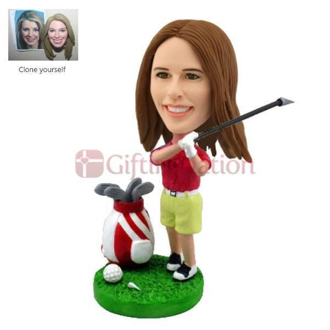 Custom Bobblehead Woman Playing Golf - Giftingnation