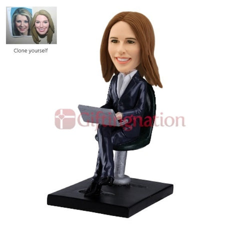 Custom Bobblehead Working Woman with Laptop - Giftingnation