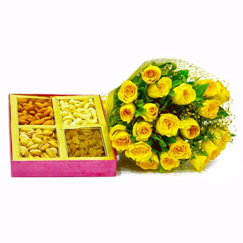 Beautiful Twenty Yellow Roses with 1 Kg Assorted Dry Fruits