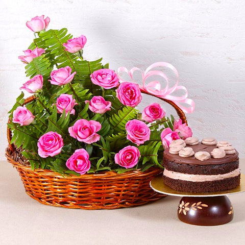 Basket Arrangement of Roses with Chocolate Cake