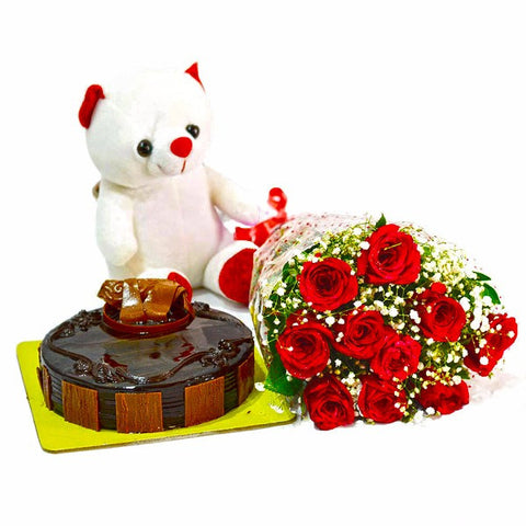 Bunch of Red Roses with Cute Teddy and Chocolate Cake