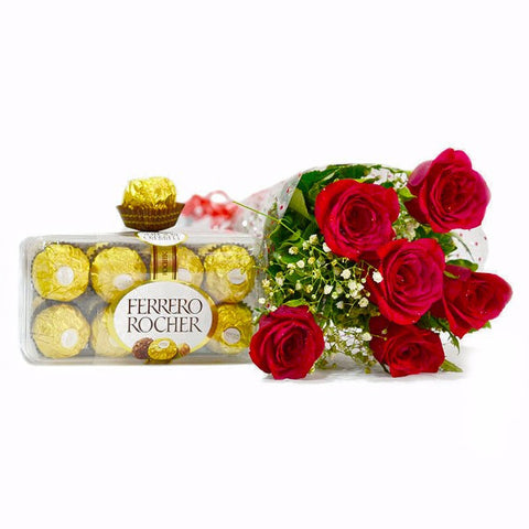Roses with Ferrero Rocher Chocolate Box